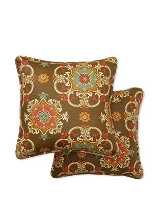 Set of 2 Garden Crest Square Decorative Throw Pillows (Chocolate)