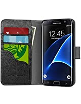 Galaxy S7 Edge Case, [Wallet Case] Supcase **KickStand** Samsung Galaxy S7 Edge Case 2016 Release [Kickstand] Leather Cover with Credit Card ID Holders (Black)