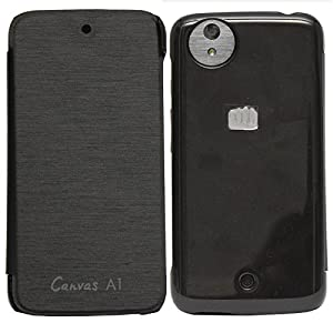 DMG Premium Leather Flip Cover for Micromax Canvas A1 Android One Mobile (Black)