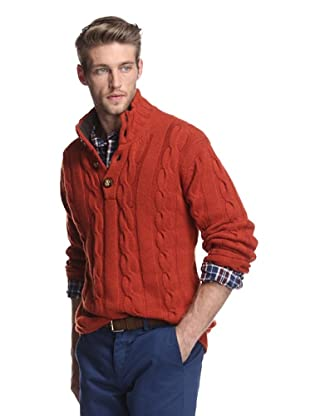 Oxxford Men's Cable Sweater (Burnt orange)