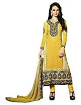 Fazals Women Georgette Salwar Suit Set (251155Xl _Yellow _X-Large)