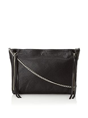 Posse Women's Cruz Cross-Body with Zippers, Black Perforated, One Size