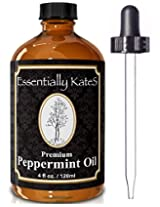 4 OZ PREMIUM PEPPERMINT OIL - 100% Pure Therapeutic Grade Essential Oil From Mentha piperita - Repel Mice, Spiders, Mosquitos, and Other Insects - Keep Home and Kitchen Smelling Clean and Fresh - Discover Little Known Proven Health Benefits in our Research-based User's Guide - ONE YEAR MONEY BACK GUARANTEE - Buy Now!