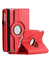 SAVEICON iPad Air 2 (iPad 6 , Released 2014) Case - Red PU Leather Case 360 Degree Swivel Rotating Magnetic Lychee Folio Case Cover Stand for Apple iPad Air 2 / iPad 6 6th Gen Tablet with Sleep and Wake Function