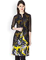 Ayaany Women YELLOW Polyester Printed Kurta