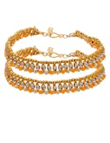 Voylla Kundan Anklets Adorned With Yellow and Pearl Beads