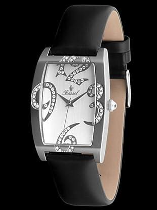 Bassel Reloj CR3021B con Correa de Piel negro / plateado