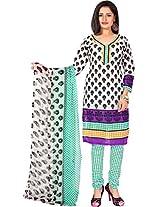 Vardhman Multicolor Cotton Jacquard Unstitched Straight Salwar Suit dress material