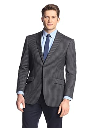 hickey Men's 2 Button Side Vent Striped Sportcoat (Grey)