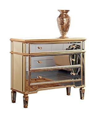 Florentine Large 3-Drawer Cabinet, Gold Leaf/Clear Mirror