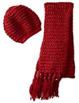 La Fiorentina Women's 2 Piece Chunky Muffler Scarf and Beret Set, Red, One Size