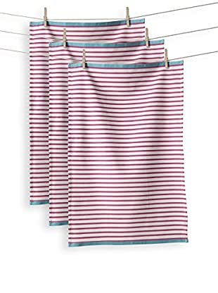 KAF Home Set of 3 Hampton Stripe Towel, Raspberry