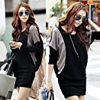 Women's Casual Bat-wing Long Sleeve Knitted Mini Dress [Apparel]