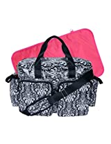Trend Lab Deluxe Duffle Style Diaper Bag, Midnight Fleur Damask