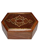 Handmade Jewellery Box Hexagon Shape Wood Carving with Abstract Brass Inlay Design