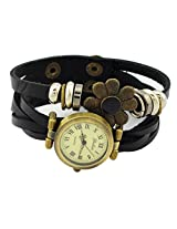 Geneva Designer Flower Collection PU Strap Analog Black color Womens Watch