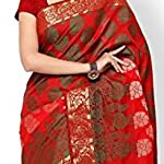Printed Banarasi Handloom Jacquard Sari With Blouse Pcs