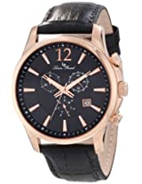 Lucien Piccard Men's 11567-RG-01 Adamello Chronograph Black Textured Dial Black Leather Watch