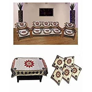 JBG Home Store Combo of Sofa Cover Set With Table Cover And Set of 5 Cushion Covers(Combo of 16)