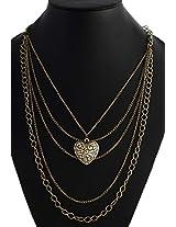 Crunchy Fashion MultiLayer Heart Neck Piece for Girls