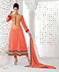 Triveni Orange Faux Georgette Embroidered Salwar Kameez TSMESK16685