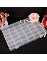 36 Grid Cells Multipurpose Clear Transparent Plastic Storage Box with Removable Dividers - For Pills, Jewelry, Pins, Screws, etc.