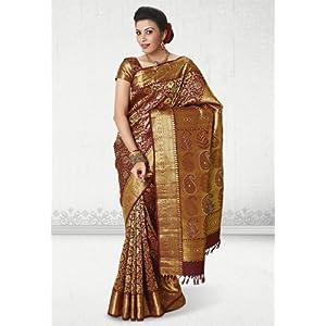 Maroon Hand Woven Pure Kanchipuram Silk Saree