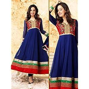 Semi Stitched Ankle Length Blue Georgette Anarkali Suit