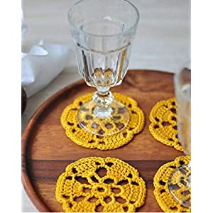 HighKnit The Floral Cut Out Yellow Coaster