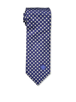 Versace Men's Medallion Tie, Blue/White/Yellow