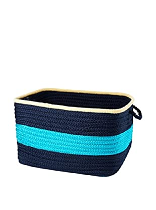 Colonial Mills Color Block Square Basket, (Turquoise Navy)