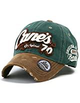 ililily Distressed Vintage Cotton embroidered Baseball Cap Snapback Trucker Hat Green AD