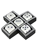 Shalinindia Handmade Resin And Wood Dice Set With Storage Tray - Game Set Includes 5 Dice - Unique Gifts Ideas