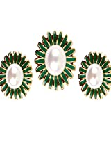 Affinity CZ Round Pearl and Emerald Pendant Set