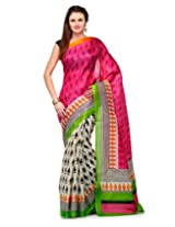 Studio Shubham Pink Printed Art Silk Saree with Blouse Piece