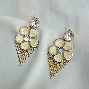 No Strings Attached Mint Flower Aztec Gold Mesh Statement Earrings
