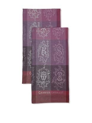 Garnier-Thiebaut Set of 2 Abecedaire Kitchen Towels (Purple)