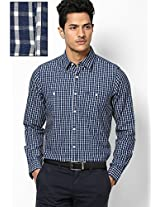Blue Check Regular Fit Casual Shirt Allen Solly