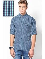 Blue Full Sleeve Small Checks Shirt Phosphorus