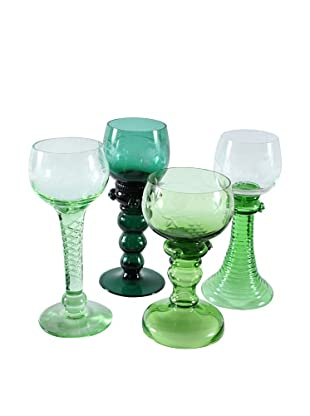 Set of 4 Unique Roemer Style Goblets, Green/Clear