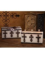 DecoGlow Rustic Mission Collection 8-Inch x 4-Inch, 3-Wick Brick Candle With Cross Decoration