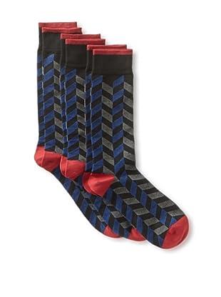 2xist Men's Dress Crew Socks - Zig Z - 3 Pack (Black Primary)