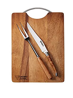 Laguiole en Aubrac Acacia Wood Board & Juniper Carving Duo, Brown