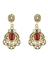Donna Fashion Red Floral Oval Gold Plated Dangler Earrings with Crystals for Women ER30093G