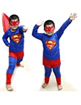 Superman costume fancy dress up outfit suit mask children (3-5 Years)