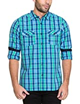 Zovi Cotton Slim Fit Casual Green and Blue Checkered Peached Shirt(11925903101_Small)