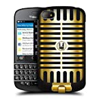 Head Case Designs Gold Pop Vintage Microphones Hard Back Case Cover for BlackBerry Q10