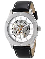Breda Breda Unisex 5200A Silver-Tone Watch With Black Faux Leather Band - 5200A