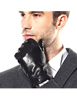 Bestselling Men's Stylish Nappa Leather Plush Lined Winter Gloves (9, Black)