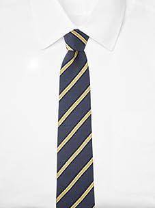 Aquascutum Men's Stripe Dot Silk Tie (Navy/Yellow)